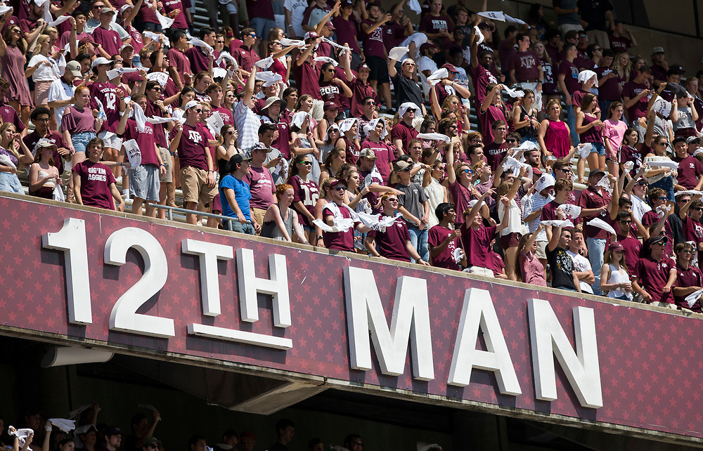 Texas A&M fans wave 12th Man towels in the student section of Kyle Field during the fourth quarter of an NCAA college football game between Texas A&M and Louisiana-Lafayette Saturday, Sept. 16, 2017, in College Station, Texas. (AP Photo/Sam Craft)