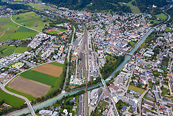 THEMENBILD - Übersicht auf die Bezirkshauptstadt Lienz, Luftaufnahme. Aufgenommen am Montag, 26. September 2019 in Lienz // Overview of the district capital Lienz, aerial view. Taken on Monday, September 26, 2019 in Lienz. EXPA Pictures © 2019, PhotoCredit: EXPA/ Johann Groder