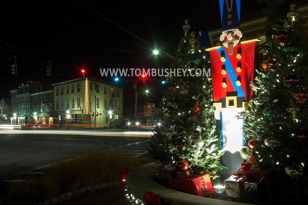 Goshen, New York - Holiday decorations in downtown Goshen on the night of Dec. 8, 2013.