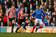 Portsmouth Forward, Oliver Hawkins (9) is first to the ball during the EFL Sky Bet League 1 match between Portsmouth and Sunderland at Fratton Park, Portsmouth, England on 22 December 2018.