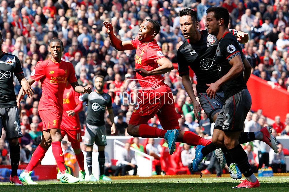 Daniel Sturridge (15) back in action for Liverpool during the Premier League match between Liverpool and Southampton at Anfield, Liverpool, England on 7 May 2017. Photo by Craig Galloway.