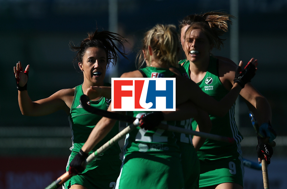 JOHANNESBURG, SOUTH AFRICA - JULY 16:  Nicola Daly of Ireland celebrates her goal with team mates during day 5 of the FIH Hockey World League Women's Semi Finals Pool A match between England and Ireland at Wits University on July 16, 2017 in Johannesburg, South Africa.  (Photo by Jan Kruger/Getty Images for FIH)