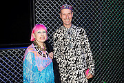ZANDRA RHODES; ANDREW LOGAN, Opening of Postmodernism.. V and A Museum. London. 21 September 2011. <br />  , -DO NOT ARCHIVE-© Copyright Photograph by Dafydd Jones. 248 Clapham Rd. London SW9 0PZ. Tel 0207 820 0771. www.dafjones.com.