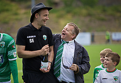 RHOSYMEDRE, WALES - Sunday, May 5, 2019: The New Saints' chairman Mike Harris (R) with assistant coach Steve Evans after the FAW JD Welsh Cup Final between Connah's Quay Nomads and The New Saints at The Rock. TNS won 3-0. (Pic by David Rawcliffe/Propaganda)