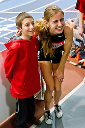 New Balance Indoor Grand Prix track meet: Women's 2 Mile, Mary Cain, High School, poses with young fan after setting national record