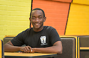 Daniel Titus poses for a photograph at North Forest High School, February 19, 2015.