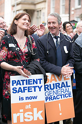 Repro Free: 24/09/2014 For the first time in the history of the state, GPs have been motivated to protest as patient safety is now at risk. GPs (as part of NAGP/ National Association of General Practitioners) are pictured protesting outside Leinster House. Picture Andres Poveda