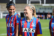 Leanne Bell and Gemma Bryan in relxaed spirits ahead of the FA Women's Premier League match between Crystal Palace LFC and Enfield Town Ladies at the Crystal Palace National Sports Centre, Croydon, United Kingdom on 20 September 2015. Photo by Michael Hulf.