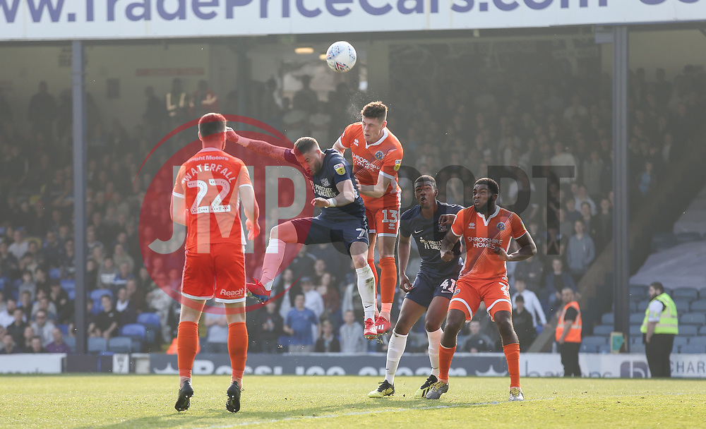 Michael Kightly of Southend United is beaten in the air by James Bolton of Shrewsbury Town - Mandatory by-line: Arron Gent/JMP - 30/03/2019 - FOOTBALL - Roots Hall - Southend-on-Sea, England - Southend United v Shrewsbury Town - Sky Bet League One