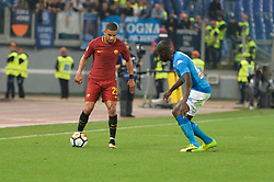 October 14, 2017 - Rome, Italy - Kalidou Koulibaly and Bruno Peres during the Italian Serie A football match between A.S. Roma and S.S.C. Napoli at the Olympic Stadium in Rome, on october 14, 2017. (Credit Image: © Silvia Lor/Pacific Press via ZUMA Wire)
