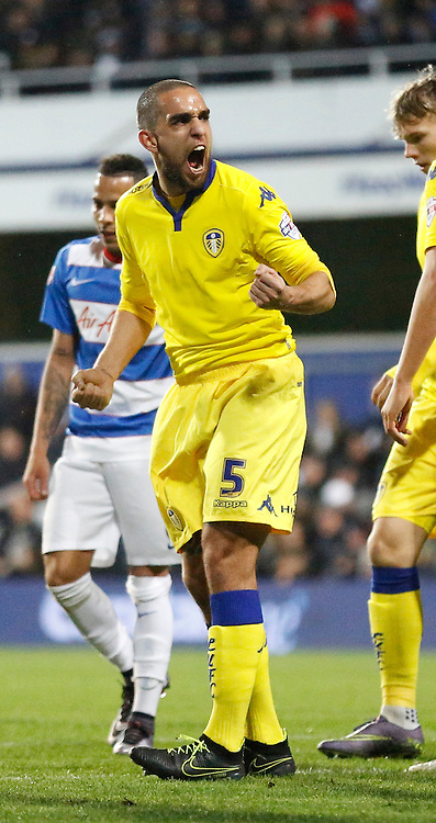 Leeds United defender Giuseppe Bellusci shows some passion to get his defence fired up during the Sky Bet Championship match between Queens Park Rangers and Leeds United at the Loftus Road Stadium, London, England on 28 November 2015. Photo by Andy Walter