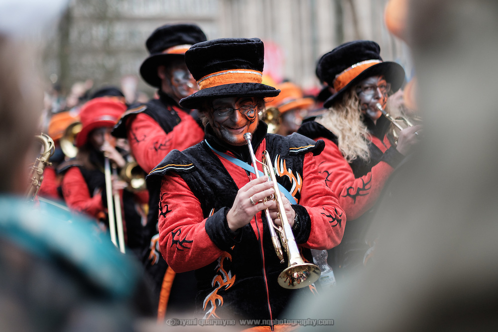 A trumpeter marching during the traditional Karneval parade in Düsseldorf, Germany on 27 February 2017.