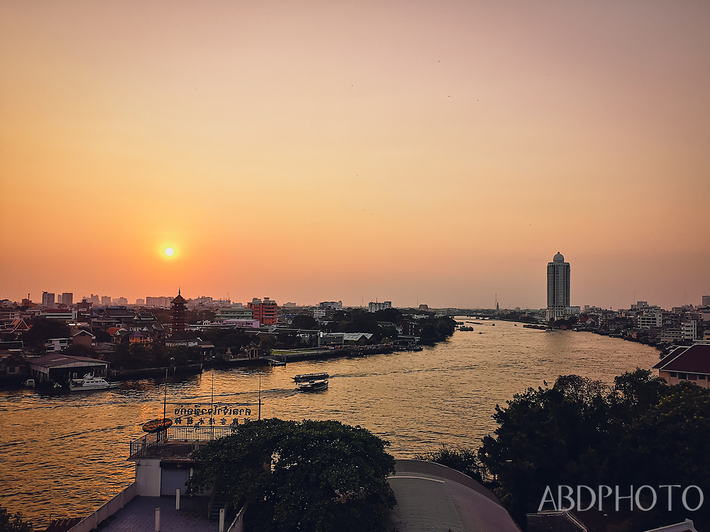 Sunset over Chao Praya River in Bangkok Thailand