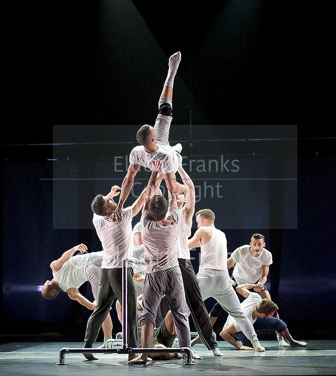 Balletboyz<br /> Life<br /> at Sadler's Wells, London, Great Britain <br /> Fiction by Javier de Frutos <br /> rehearsal <br /> 20th April 2016 <br /> <br /> Andrea Carruciu<br /> Bradley Waller<br /> Edward Pearce<br /> Flatten Esmieu<br /> Harry Price<br /> Jordan Robson<br /> Matthew Rees <br /> Matthew Sanford<br /> Simone Donati <br /> <br /> Photograph by Elliott Franks <br /> Image licensed to Elliott Franks Photography Services