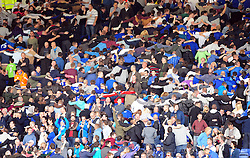 Leicester City fans celebrate - Photo mandatory by-line: Joe Meredith/JMP  - Tel: Mobile:07966 386802 06/10/2012 - Leicester City v Bristol City - SPORT - FOOTBALL - Championship -  Leicester  - King Power Stadium
