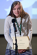 Katie Milligan of Graham Middle School introduces herself during the Southeastern Ohio Regional Spelling Bee Regional Saturday, March 16, 2013. The Regional Spelling Bee was sponsored by Ohio University's Scripps College of Communication and held in Margaret M. Walter Hall on OU's main campus.