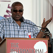 "Aaron ""The Hawk"" Pryor laughs with the crowd during the 23rd Annual induction weekend opening ceremony at the International Boxing Hall of Fame on Thursday, June 7, 2012 in Canastota, NY. (AP Photo/Alex Menendez)"