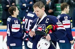 Matt Hendricks of USA with bronze medal after winning during Ice Hockey match between USA and Czech Republic at Third place game of 2015 IIHF World Championship, on May 17, 2015 in O2 Arena, Prague, Czech Republic. Photo by Vid Ponikvar / Sportida