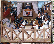 Richard II (1367-1400) king of England from 1377-1379, presiding at a tournament. 15th century Flemish manuscript. Lambeth Palace Library
