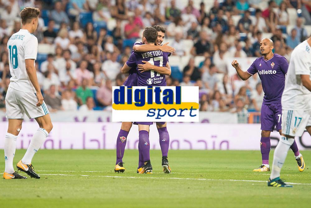Fiorentina's Gil Dias and Jordan Veretout celebrating a goal during XXXVIII Santiago Bernabeu Trophy at Santiago Bernabeu Stadium in Madrid, Spain August 23, 2017. (ALTERPHOTOS/Borja B.Hojas)