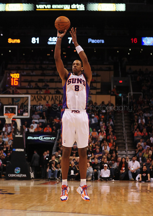 Mar. 6 2010; Phoenix, AZ, USA;  Phoenix Suns center Channing Frye (8) puts up a shot in the second half at the US Airways Center. The Suns defeated the Pacers 113 to 105. Mandatory Credit: Jennifer Stewart-US PRESSWIRE.