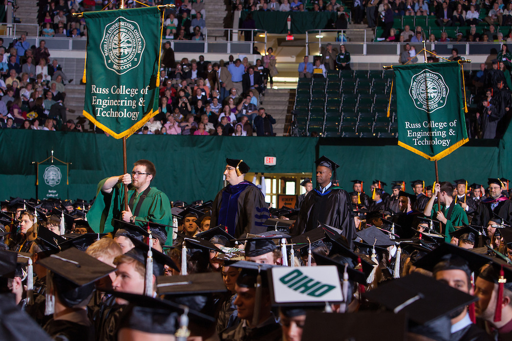 Russ College of Engineering and Technology heads to the stage during the Ohio University Commencement ceremony Saturday May 3, 2014.  Photo by Ohio University / Jonathan Adams