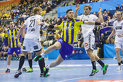 Suholeznik Matic #10 of RK Celje Pivovarna Lasko and Lagergren Albin #10 of IFK Kristianstad   during handball match between RK Celje Pivovarna Lasko (SLO) and IFK Kristianstad (SWE) in Group phase of EHF Men's Champions League 2016/17, on February 11, 2017 in Arena Zlatorog, Celje, Slovenia. Photo by Grega Valancic