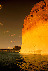 AZ, Arizona Lake Powell, near Grand Canyon National Park, Lone Rock at sunset.Photo Copyright: Lee Foster, lee@fostertravel.com, www.fostertravel.com, (510) 549-2202.Image: azlkpo201