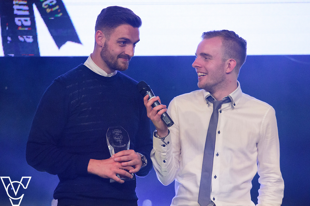 Luke Waterfall being interviewed by rob Makepeace about winning the Players Player Award<br /> <br /> Lincoln City Football Club's 2016/17 End of Season Awards night - Champions Seasons Awards Dinner - held at the Lincolnshire Showground.<br /> <br /> Picture: Andrew Vaughan for Lincoln City Football Club<br /> Date: May 20, 2017 Champions Seasons Awards Dinner: