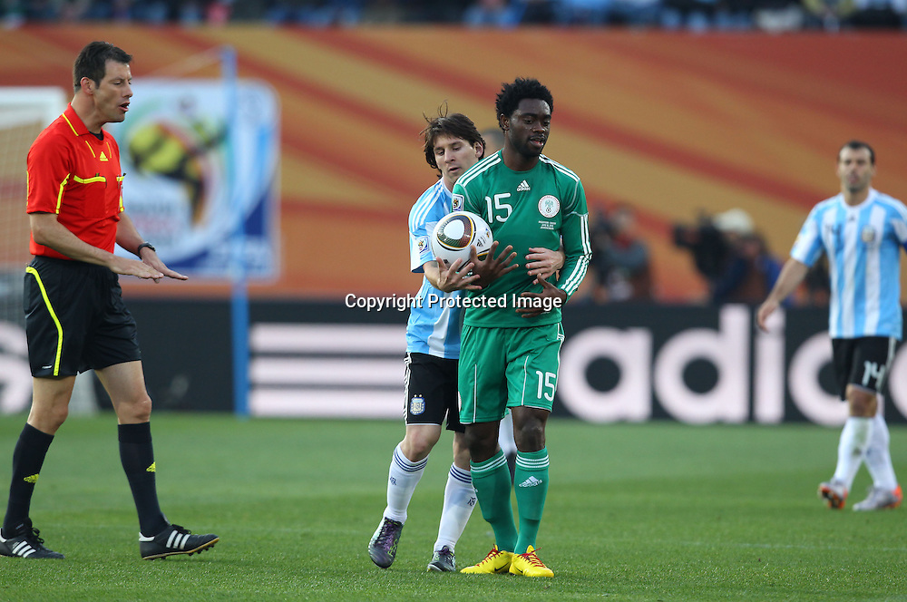 (L-R) Lionel Messi (ARG), Lukman Haruna (NGR), <br /> JUNE 12, 2010 - Football : <br /> 2010 FIFA World Cup South Africa <br /> Group Match -Group B- <br /> between Argentina 1-0 Nigeria <br /> at Ellis Park Stadium, Johannesburg, South Africa. <br /> (Photo by YUTAKA/AFLO SPORT) [1040]