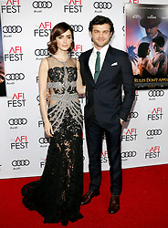 Lily Collins and Alden Ehrenreich at the AFI FEST 2016 Opening Night Premiere of 'Rules Don't Apply' held at the TCL Chinese Theatre in Hollywood, USA on November 10, 2016.
