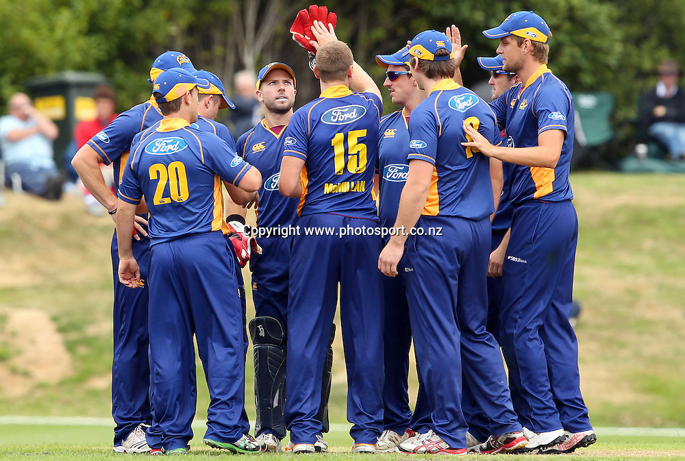 The Otago Volts celebrate taking a Wizards wicket.<br /> Otago Volts v Canterbury Wizards, 5 February 2012, University Oval, Dunedin, New Zealand.<br /> Photo: Rob Jefferies/PHOTOSPORT