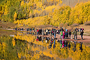 Photographers at Maroon Bells in Fall