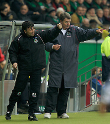 FRANKFURT, GERMANY - Wednesday, November 21, 2007: Wales' manager John Toshack and assistant coach Dean Saunders during the final UEFA Euro 2008 Qualifying Group D match against Germany at the Commerzbank Arena. (Pic by David Rawcliffe/Propaganda)