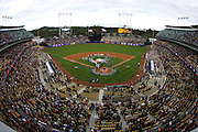 LOS ANGELES, CA - MARCH 22: General view of the field and the stadium as members of USA swap gifts with members of Japan prior to game two of the semifinal round of the 2009 World Baseball Classic at Dodger Stadium in Los Angeles, California on Sunday March 22, 2009. Japan defeated USA 9-4. (Photo by Paul Spinelli/WBCI/MLB Photos)