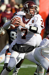 Virginia Tech quarterback Sean Glennon (7)..The #8 ranked Virginia Tech Hokies defeated the #16 ranked Virginia Cavaliers 33-21 at Scott Stadium in Charlottesville, VA on November 24, 2007.