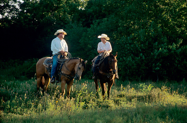two cowboys riding horses in the woods