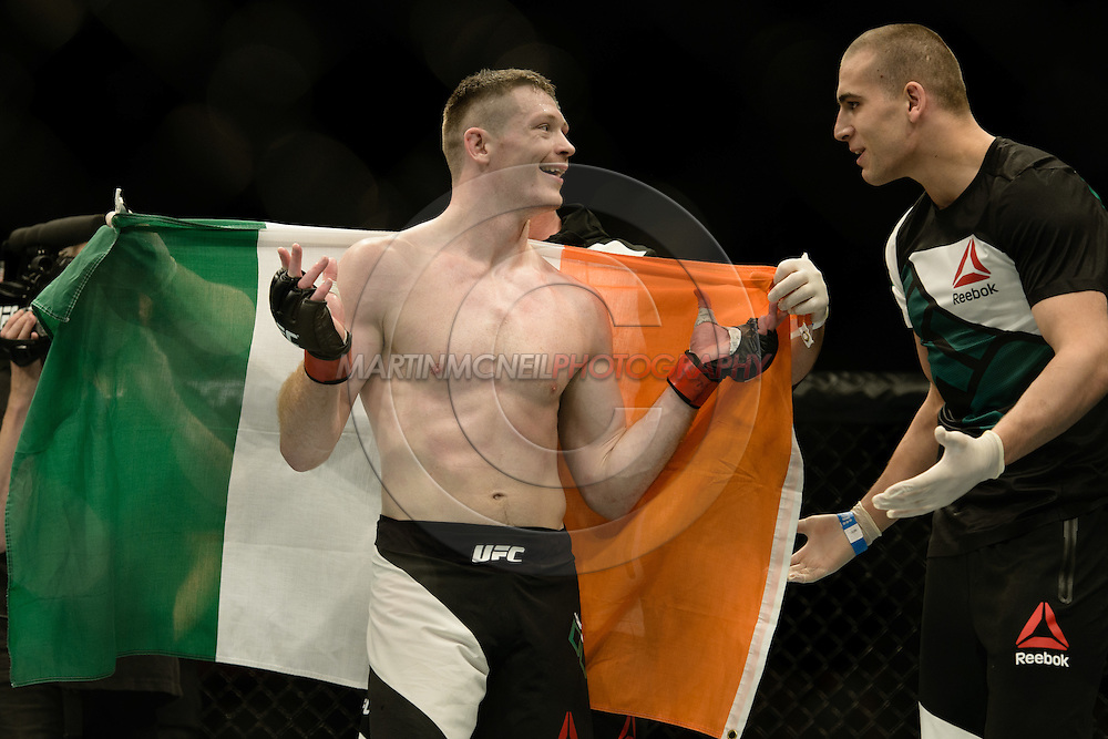 """GLASGOW, SCOTLAND, JULY 18, 2015: Joseph Duffy celebrates his win during """"UFC Fight Night 72: Bisping vs. Leites"""" inside the SSE Hydro Arena in Glasgow, Scotland (Martin McNeil for ESPN)"""