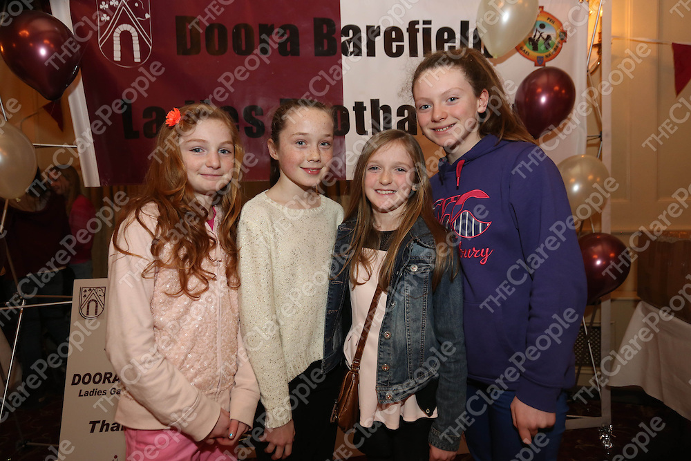Caoilfhionn Ni Ghonaill, Emma Towey, Eimear O Loughlin and Saidbh O Brien pictured at the DooraB for the Ladies Football Medal Presentation at the Old Ground Hotel on Saturday.<br /> Pic. Brian Arthur/ Press 22.