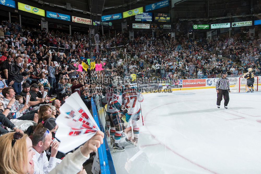 KELOWNA, CANADA - MAY 11: Kelowna Rockets celebrate a second period goal against the Brandon Wheat Kings on May 11, 2015 during game 3 of the WHL final series at Prospera Place in Kelowna, British Columbia, Canada.  (Photo by Marissa Baecker/Shoot the Breeze)  *** Local Caption ***