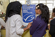 Tower Hamlets Council launch two new MSC fish dishes on their menu at a Primary School. MSC and Crown Foods, the producer of one of these fish products celebrate at the school. Children enjoy samples from the menu.  All images © Andrew Aitchison