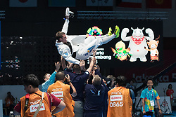 JAKARTA, Aug. 19, 2018  Alexanin Dmitriy (Top) of Kazakhstan celebrates after winning Men's Epee Individual Gold Medal Bout of the 18th Asian Games in Jakarta, Indonesia, Aug. 19, 2018. (Credit Image: © Zhu Wei/Xinhua via ZUMA Wire)
