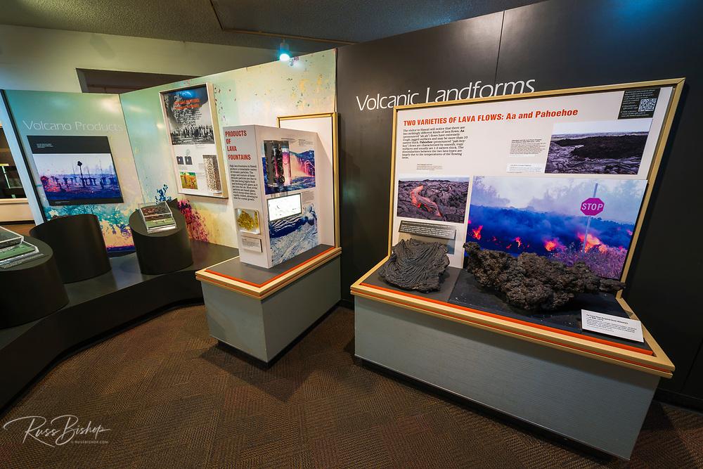 Interpretive displays at the Jaggar Museum, Hawaii Volcanoes National Park, Hawaii USA
