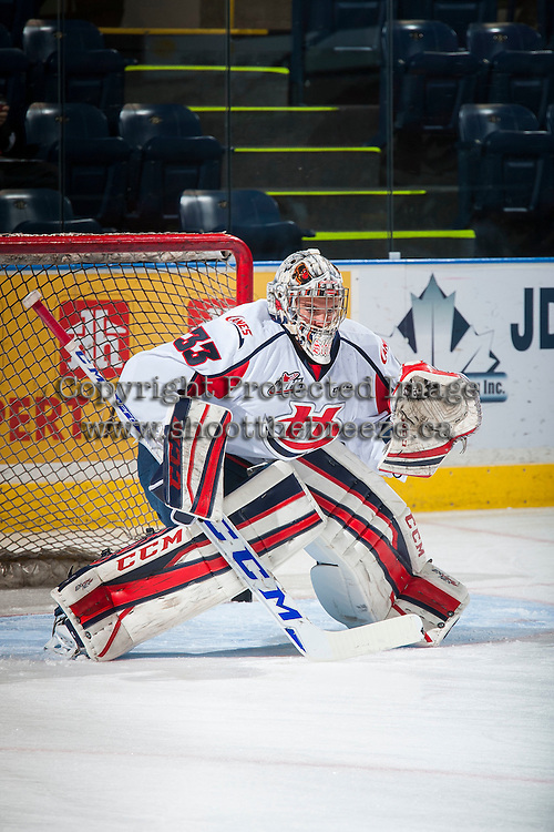 KELOWNA, CANADA - OCTOBER 31: Jayden Sittler #33 of Lethbridge Hurricanes warms up against the Kelowna Rockets on October 31, 2015 at Prospera Place in Kelowna, British Columbia, Canada.  (Photo by Marissa Baecker/Shoot the Breeze)  *** Local Caption *** Jayden Sittler;