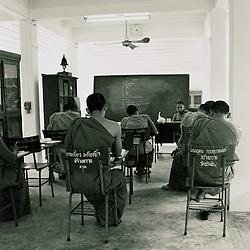 Monks in classroom. Ko Kret, Thailand.