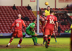 Matt Taylor of Bristol Rovers heads over Neil Etheridge of Walsall to score. - Mandatory by-line: Alex James/JMP - 21/01/2017 - FOOTBALL - Banks's Stadium - Walsall, England - Walsall v Bristol Rovers - Sky Bet League One