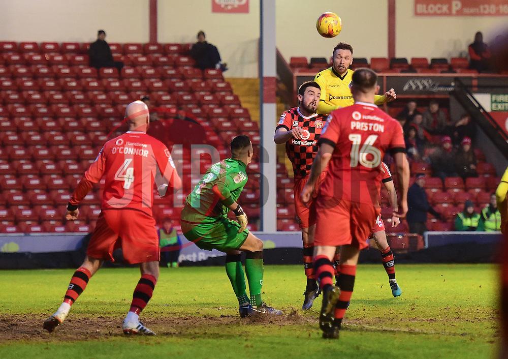 Matt Taylor of Bristol Rovers heads over Neil Etheridge of Walsall to score. - Mandatory by-line: Alex James/JMP - 21/01/2017 - FOOTBALL - Banks's Stadium - Walsall, England - Walsall v Bristol Rovers - Sky Bet League One