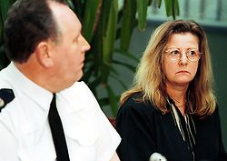 Stansted Airport press conference c/o  hijacked plane..Assistant Chief Constable for Essex Police, John Broughton and HEATHER WATTS, Press Officer for Essex Police, February 7, 2000. Photo by Andrew Parsons / i-images..