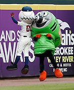 ATLANTA, GA - OCTOBER 2:  Homer the Brave congratulates Two Bit the Drill on his first Home Depot Tool Race win of the season during the game between the Detroit Tigers and the Atlanta Braves at Turner Field on Sunday, October 2, 2016 in Atlanta, Georgia. (Photo by Mike Zarrilli/MLB Photos via Getty Images) *** Local Caption ***