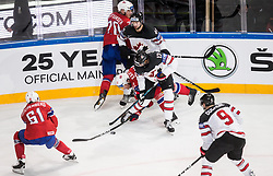 Anders Bastiansen of Norway, Marc-Edouard Vlasic of Canada, Wayne Simmonds of Canada and Jorgen Karterud of Norway during the 2017 IIHF Men's World Championship group B Ice hockey match between National Teams of Canada and Norway, on May 15, 2017 in AccorHotels Arena in Paris, France. Photo by Vid Ponikvar / Sportida